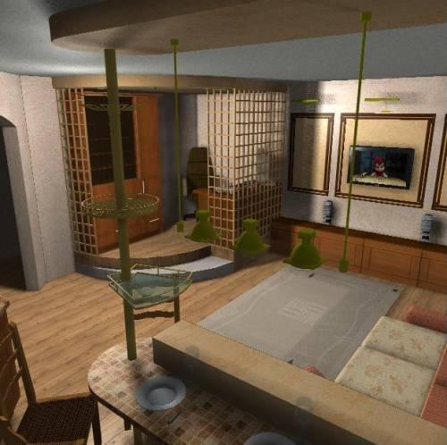 Кухня гостинная кабинет 3d проект